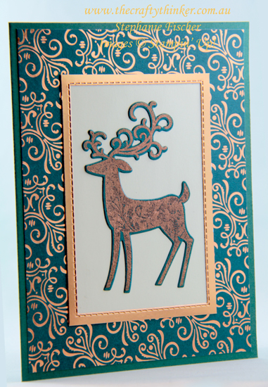 #thecraftythinker #stampinup #christmascard #cardmaking #dashingdeer , Dashing Deer, Detailed Deer, Brightly Gleaming, Christmas Card, Stampin' Up Demonstrator, Stephanie Fischer, Sydney NSW