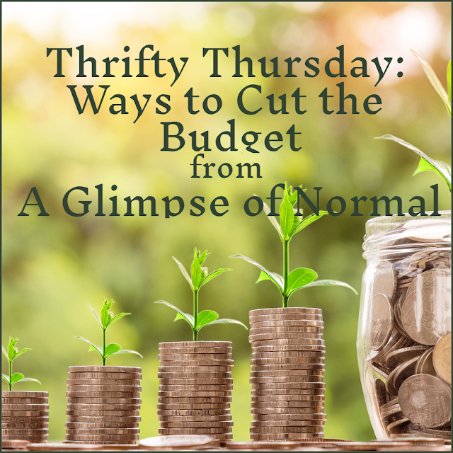 Saving money is a priority in our house.  Check out A Glimpse of Normal for some money saving ideas.