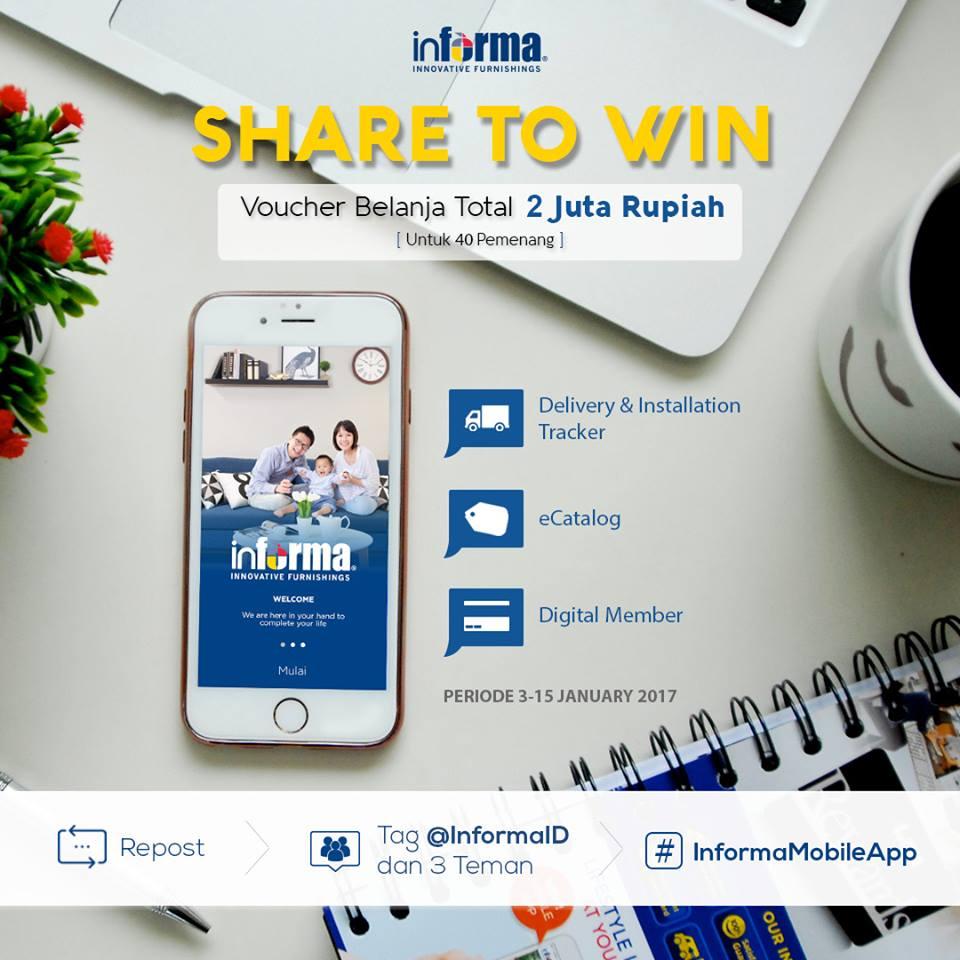 Kuis Informa Share To Win Berhadiah Voucher Belanja Total 2 Juta Rma Rupiah
