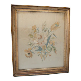 Antique Floral Embroidery front view glass