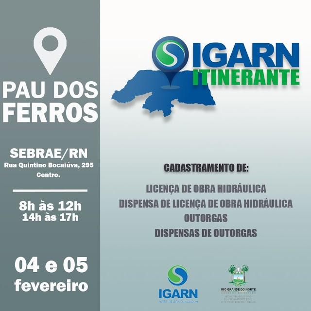 Igarn Itinerante cadastrará usuários de água de Pau dos Ferros e Região
