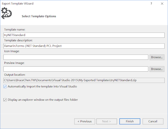 Export Template Wizard Input Information