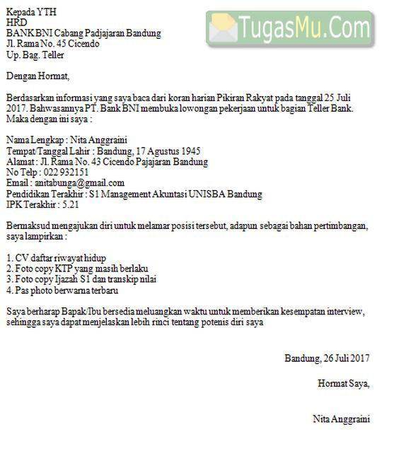 Download Contoh Surat Lamaran Kerja Di Bank Untuk Berbagai Posisi