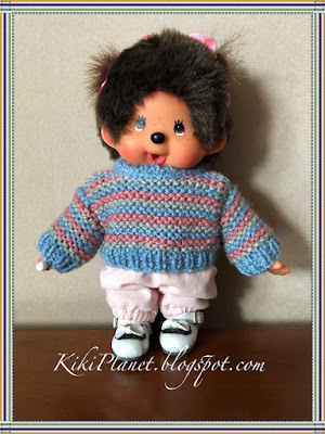 kiki monchhichi handmade fait main sweater tricot pull knitting doll vêtement