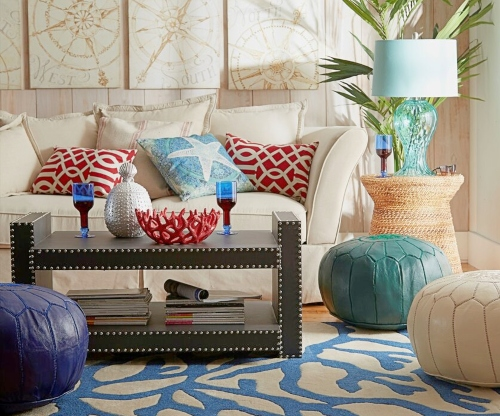 Eclectic Coastal Living Room Design
