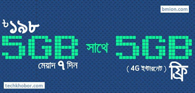 Grameenphone-GP-10GB-198Tk-Internet-Offer-5GB-Regular 5GB-4G