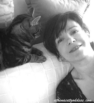 cat selfie with cat mum