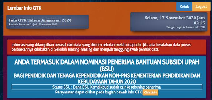 Segera cek info GTK anda, siapa tahu anda beruntung mendapatkan Bantuan Subsidi Upah