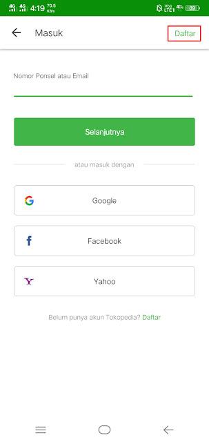 Daftar akun tokopedia di aplikasi