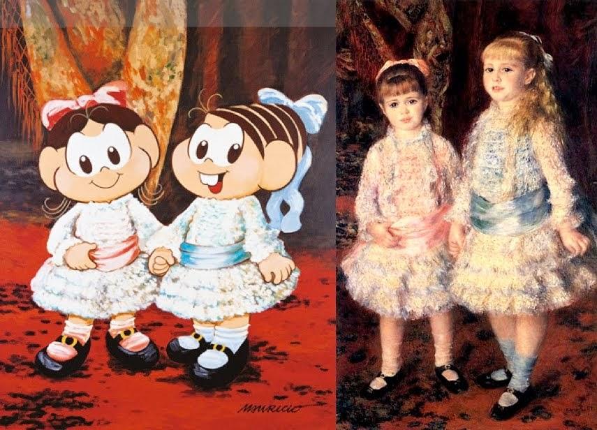 """Maurício de Souza apresenta um tom cômico à obra de Renoir, """"Rosa e Azul"""", através de suas personagens Magali e Mônica."""
