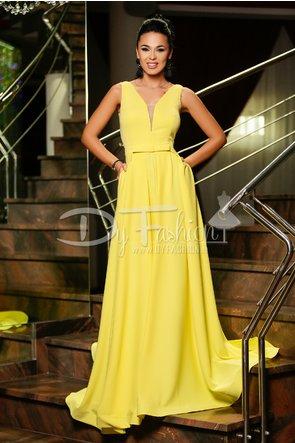 rochie lunga de lux galbena fara maneci eleganta de ocazii