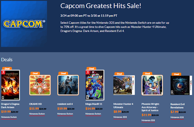CAPCOM Greatest Hit Sale Nintendo eShop March 2020 Dragon's Dogma Okami Resident Evil Mega Man Ace Attorney Monster Hunter