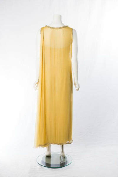 Yellow evening gown designed by Adele Simpson for Lady Bird Johnson