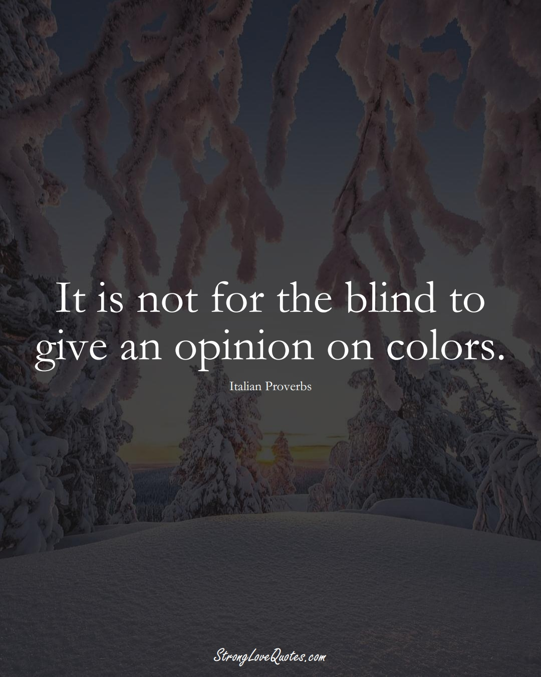 It is not for the blind to give an opinion on colors. (Italian Sayings);  #EuropeanSayings