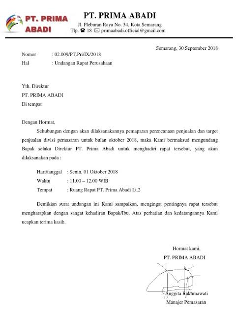 Contoh Surat Undangan Resmi Perusahaan