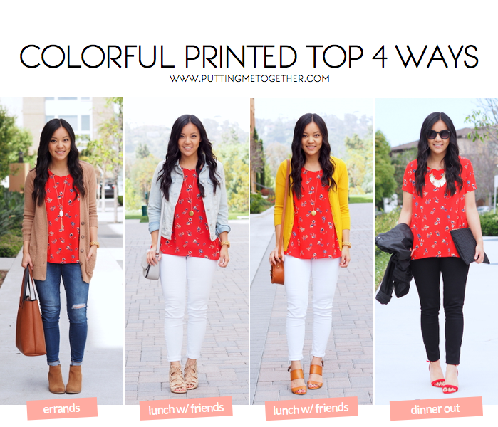 Colorful Printed Top Outfits