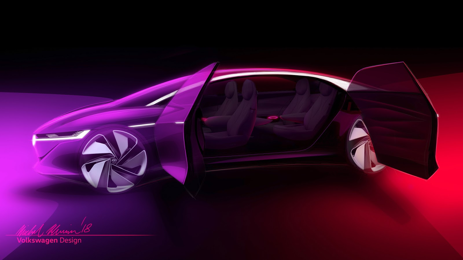 VW ID Vizzion sketch by Michal Uhrin with open doors