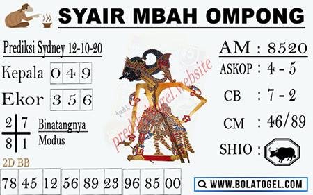 Syair Mbah Ompong SGP Senin 12 Oktober 2020