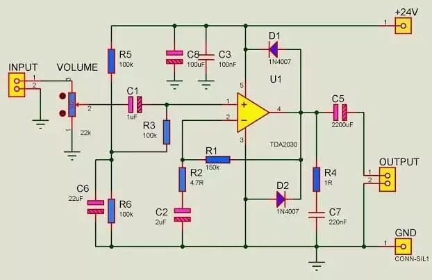 tda2030 amplifier circuit single supply