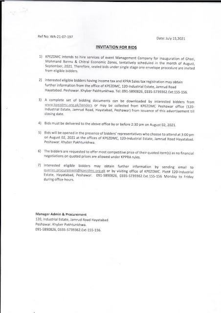 Invitation for Bids, KPEZDMC, Tender, Khyber Pakhtunkhwa Economic Zones Development & Management Company (KPEZDMC) requires services of management com