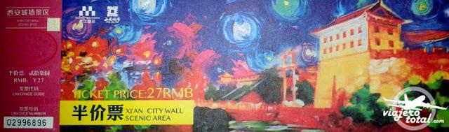 Ticket de entrada a la muralla de Xi'an