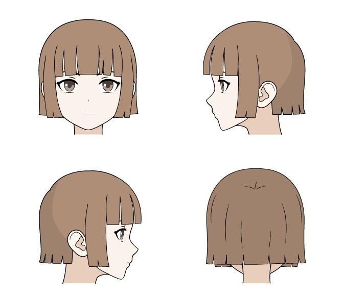 Menggambar tampilan anime rambut depan, belakang dan samping