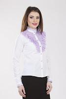 Camasa alb cu mov din bumbac 2086 (Ama Fashion)