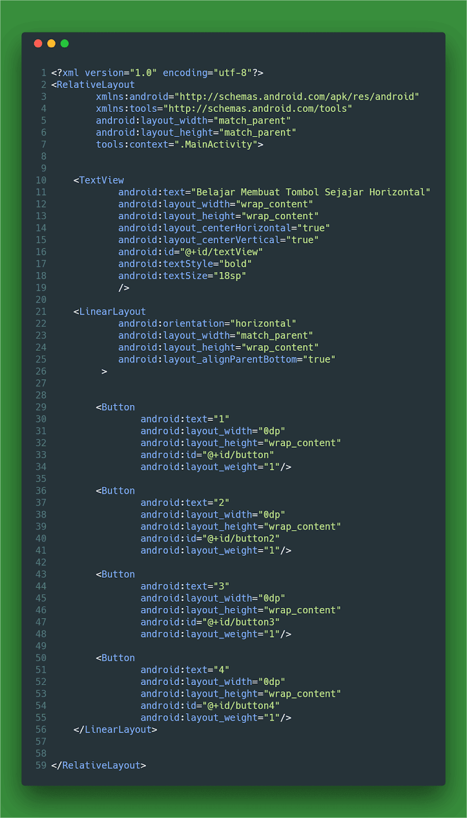 Contoh Code Membuat Button Sejajar Horizontal Layout XML Android Studio