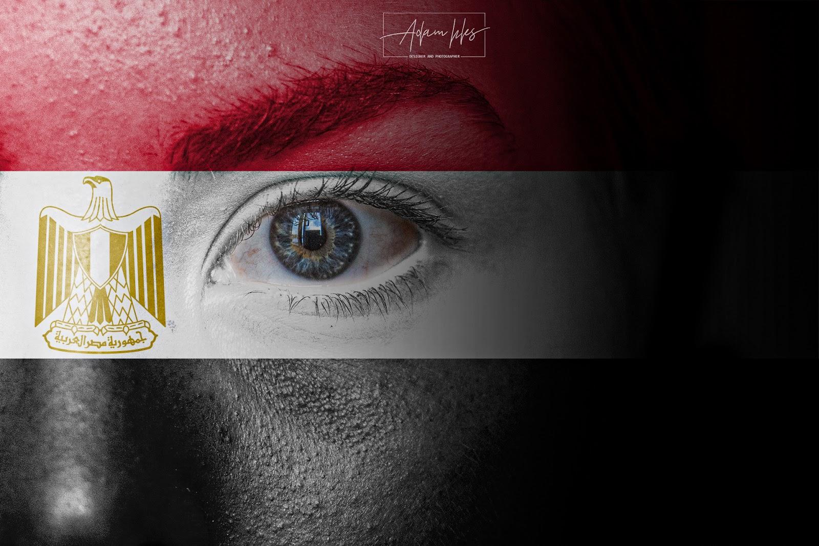 صور علم مصر على وجه طفل