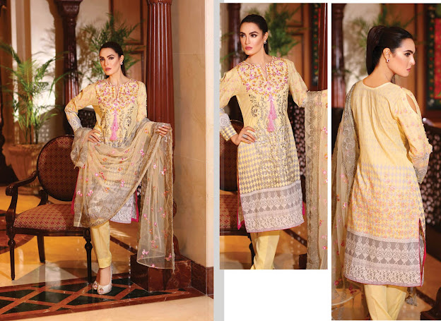 Nadia Hussain New Eid Light Yellow color suits