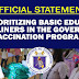 On prioritizing Basic Education frontliners in the government vaccination program