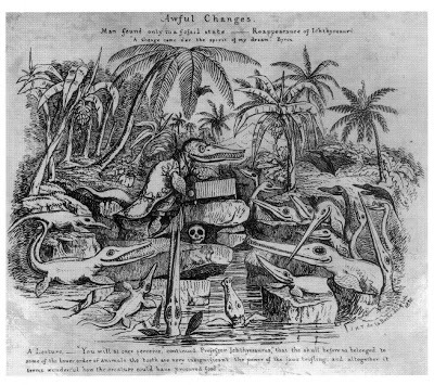 """The caricature by De la Beches of Charles Lyell as Prof. Ichthyosaurus on the pages of Francis Trevelyan Buckland (Son of William B.). """"Curiosities of Natural History""""."""