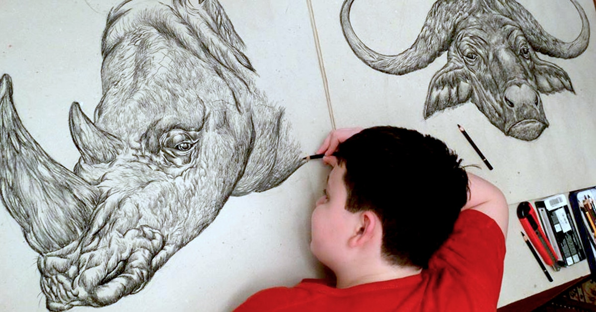 From memory, a 15-year-old artist creates incredible animal drawings.