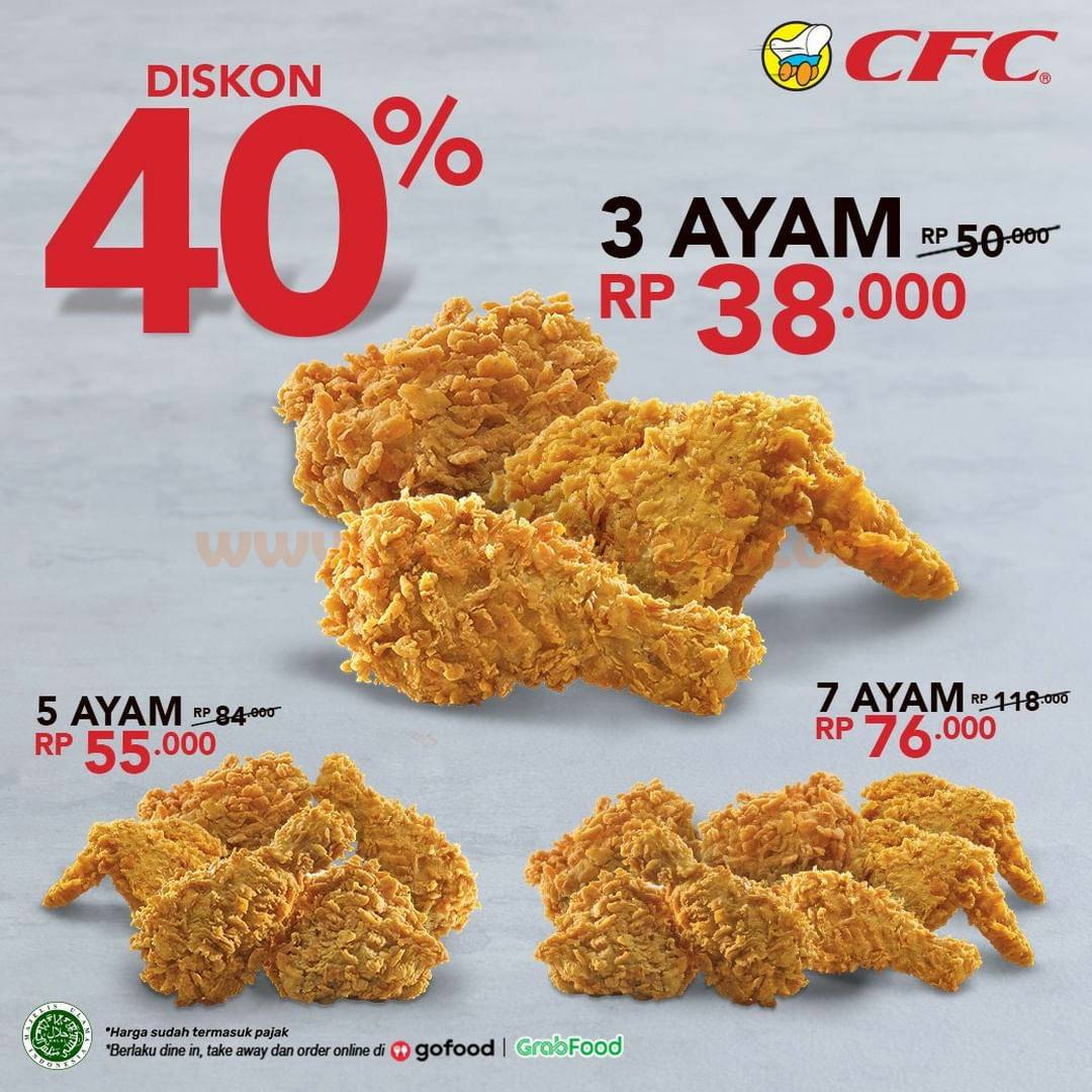 CFC Promo DISKON hingga 40% khusus pemesanan via GOFOOD & GRABFOOD