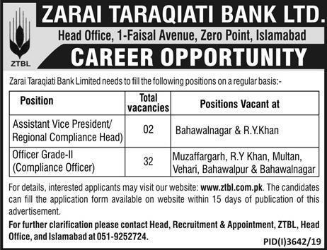 ZTBL Jobs January 2020 For Multiple Cities Apply Online