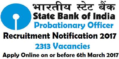 SBI PO Recruitment Notification 2017