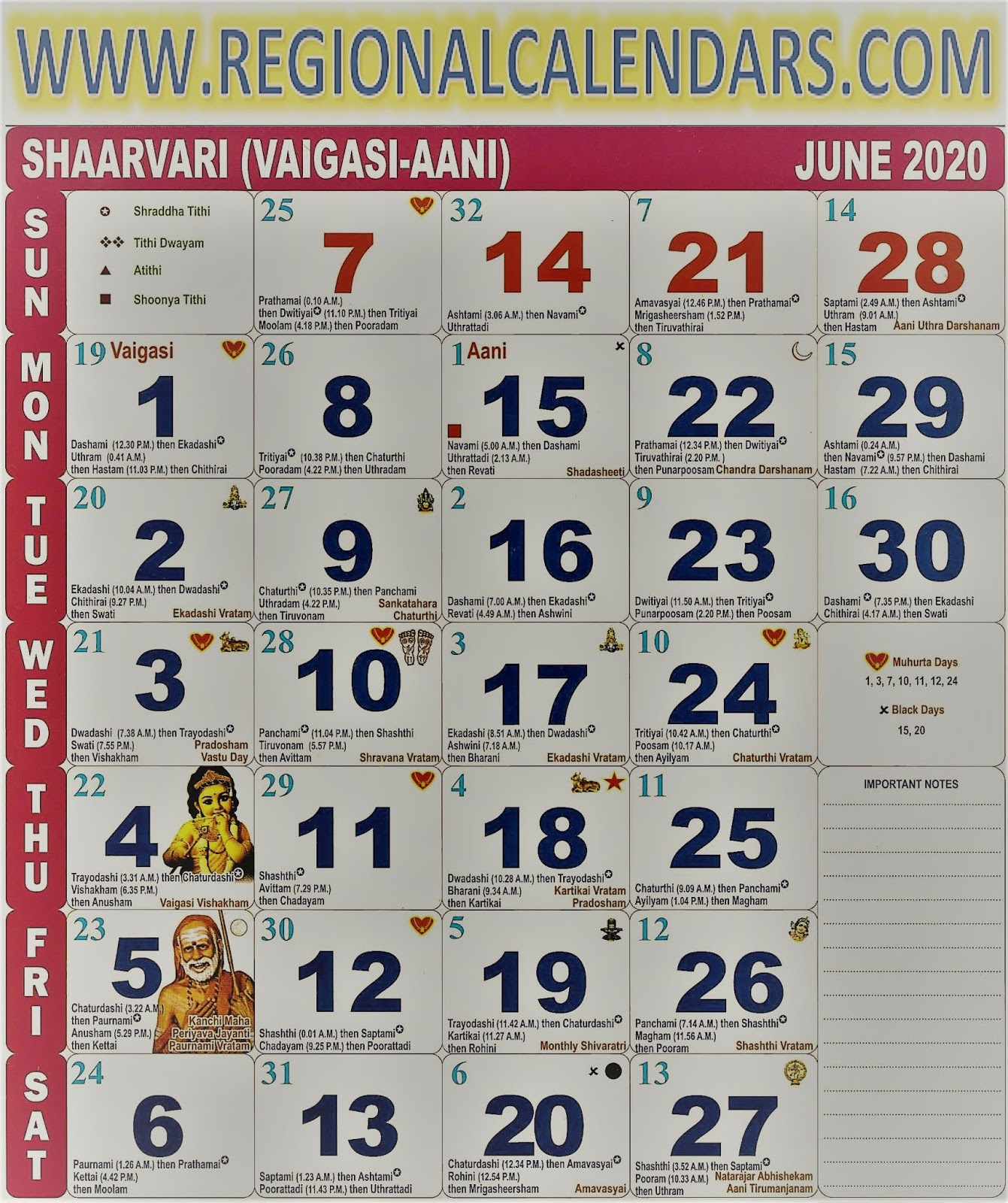 Tamil Calendar. June,2020.