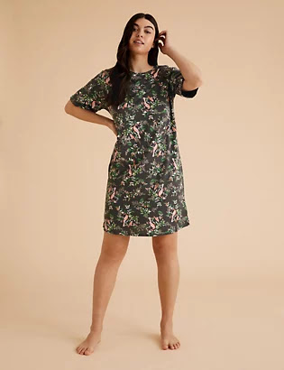 M&S COLLECTION - Cotton Floral Print Short Nightdress
