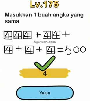 jawaban brain out  444+44+4+4+4 = 500 (memasukkan 1 buah angka yang sama)