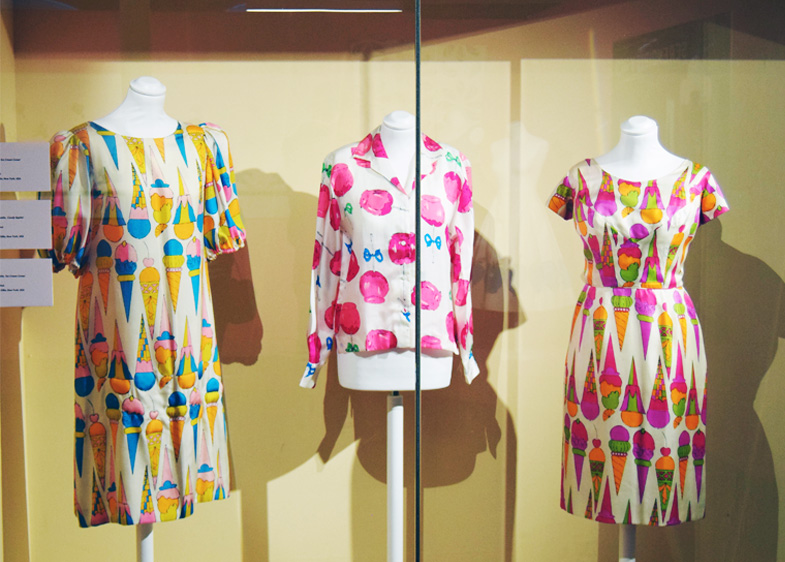 Artist Textiles Exhibition: Picasso to Warhol. Andy Warhol ice cream and lollipop prints on clothing.