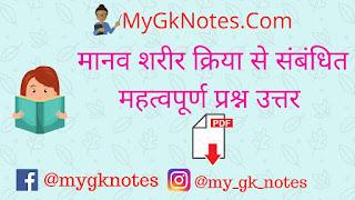 Human physiology gk questions in Hindi ( मानव शरीर क्रिया से संबंधित महत्वपूर्ण प्रश्न उत्तर pdf )
