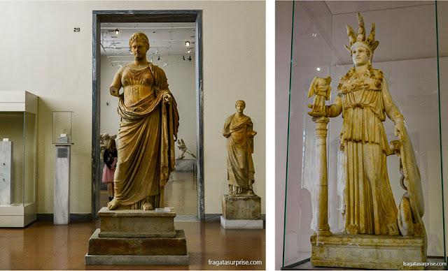 Estátua de Atena Partenos na Coleção de Esculturas do Museu Nacional de Arqueologia de Atenas, Grécia