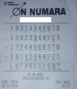 on numara kazanan kupon on numara 6-7 bilen kupon