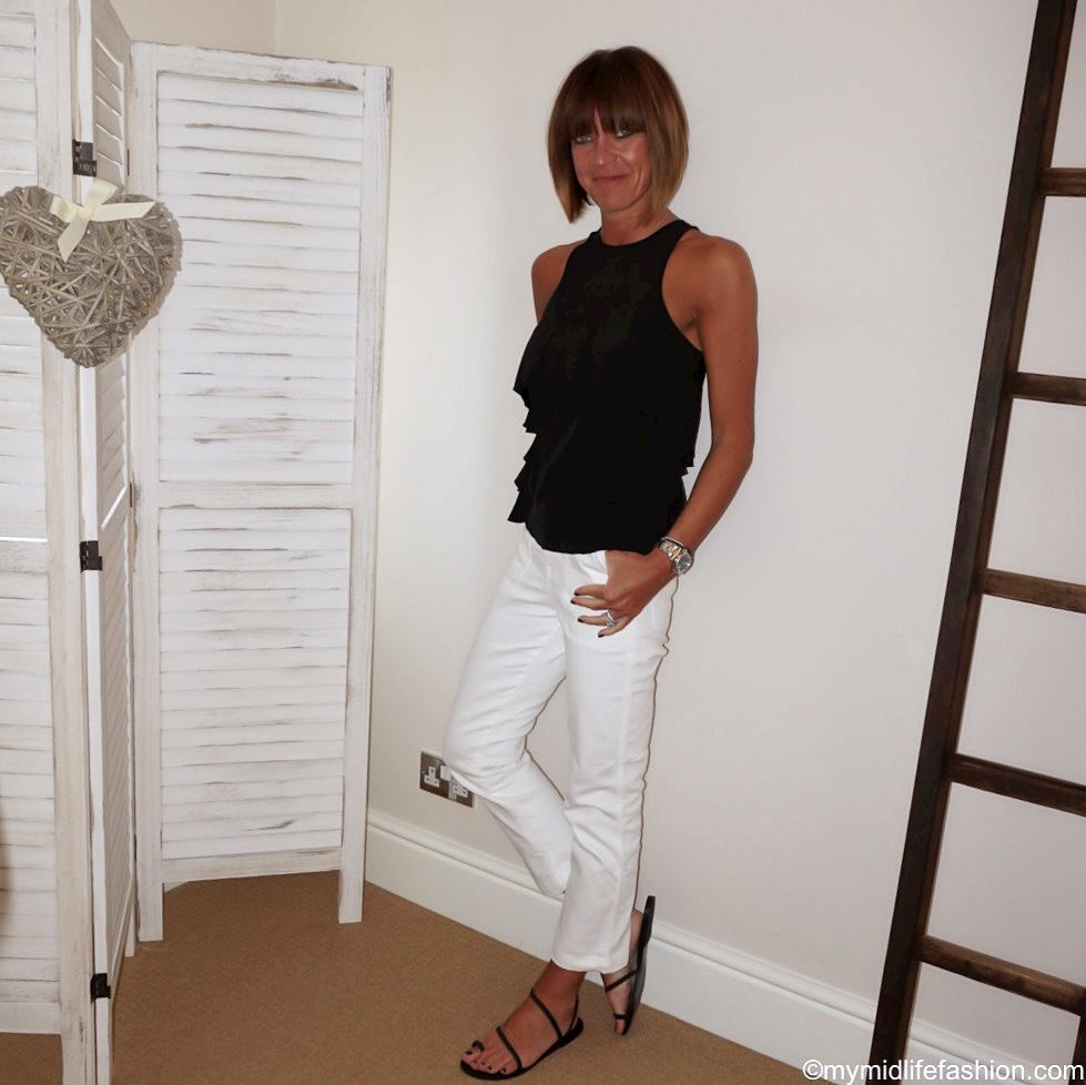 my midlife fashion, Tibi silk blouse, j crew white jeans, Ancient Greek leather sandals