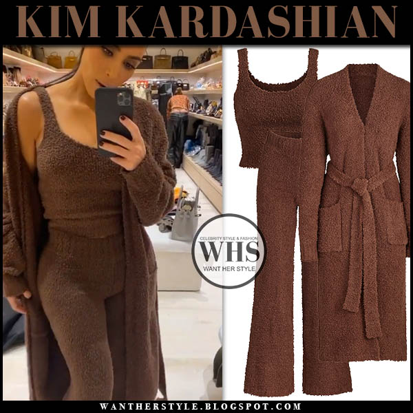 Kim Kardashian in brown Skims knit robe, brown knit top and brown knit pants. Celebrity loungewear cosy winter style