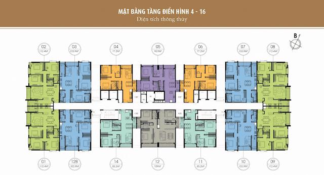 Mặt bằng thiết kế tầng 4-16 - One 18