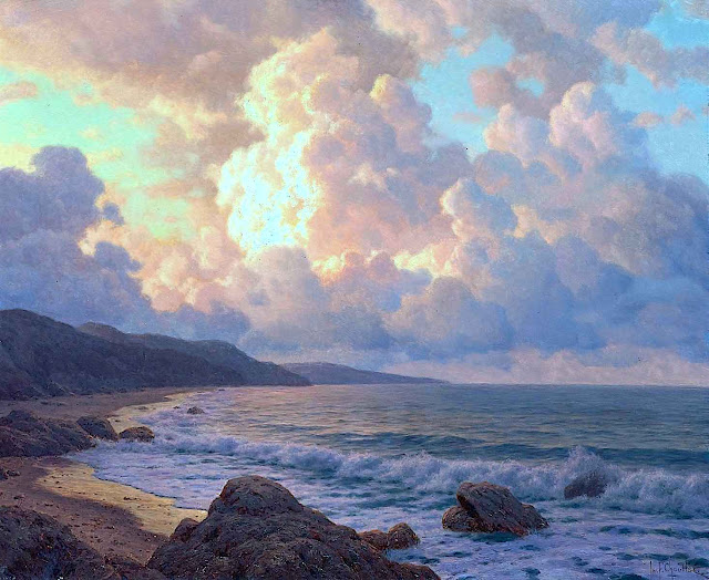 an Ivan Fedorovich Choultsé painting of a shoreline with cloudy sky