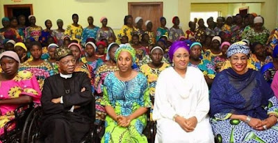 Image result for Aisha Buhari Meets Newly Released Chibok Girls