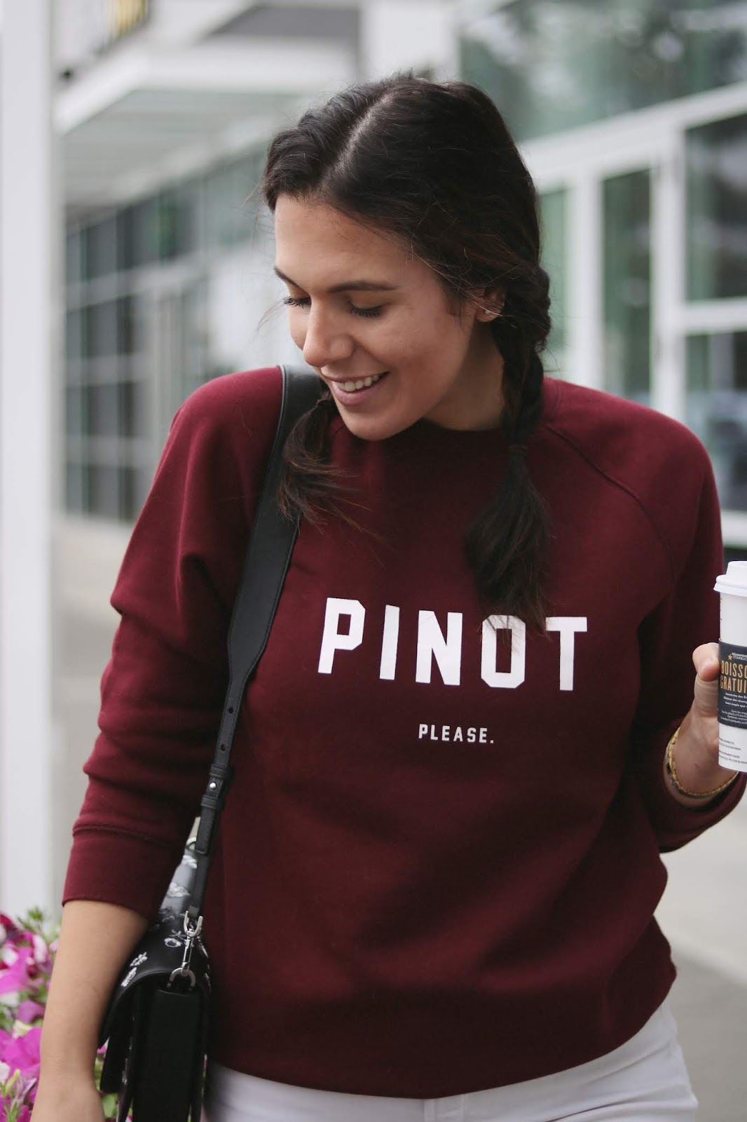 Vancouver fashion blogger Aleesha Harris wears the Pinot, Please! sweater from Brunette the Label and Meimoi Wines.