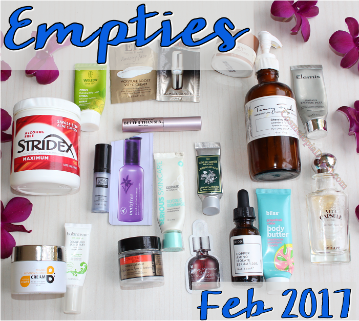 Here are the beauty products I used up in February 2017, and my thoughts on each.